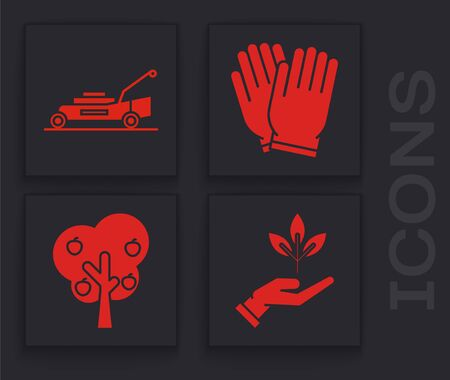 Set Plant in hand of environmental protection, Lawn mower, Garden gloves and Tree with apple icon. Vector