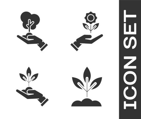 Set Plant, Tree in hand of environmental protection, Plant in hand of environmental protection and Hand holding flower icon. Vector