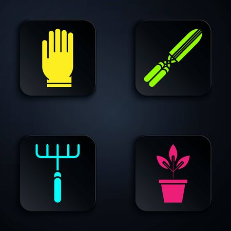Set Flowers in pot, Garden gloves, Garden rake and Gardening handmade scissors for trimming. Black square button. Vector