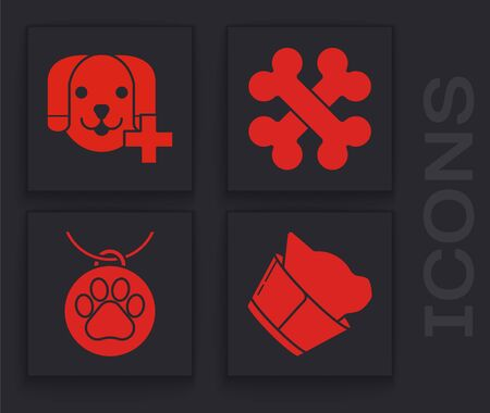 Set Veterinary clinic symbol, Veterinary clinic symbol, Crossed bones and Collar with name tag icon. Vector