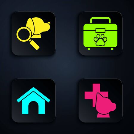 Set Veterinary clinic symbol, Veterinary clinic symbol, Dog house and Pet first aid kit. Black square button. Vector
