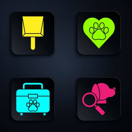 Set Veterinary clinic symbol, Dustpan, Pet first aid kit and Heart with animals footprint. Black square button. Vector