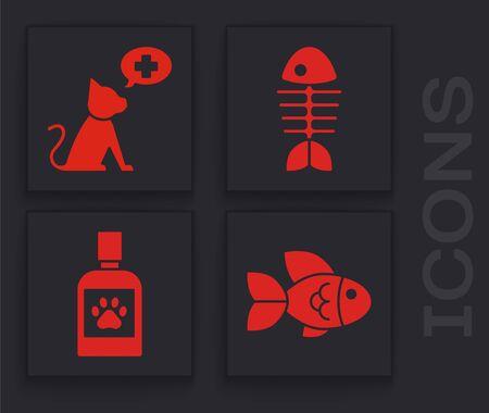 Set Fish, Veterinary clinic symbol, Fish skeleton and Dog medicine bottle icon. Vector Vettoriali
