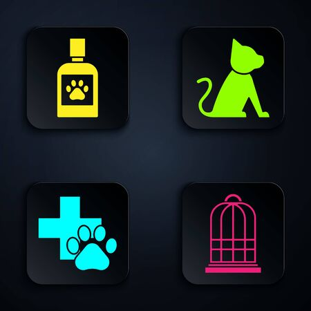 Set Cage for birds, Dog medicine bottle, Veterinary clinic symbol and Cat. Black square button. Vector