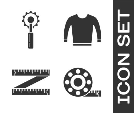 Set Tape measure, Cutter tool, Tape measure and Sweater icon. Vector  イラスト・ベクター素材