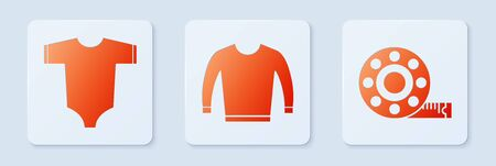 Set Sweater, Baby clothes and Tape measure. White square button. Vector