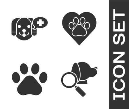 Set Veterinary clinic symbol, Veterinary clinic symbol, Paw print and Heart with animals footprint icon. Vector