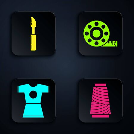 Set Sewing thread on spool, Cutter tool, Woman dress and Tape measure. Black square button. Vector