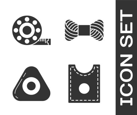 Set Sewing Pattern, Tape measure, Sewing chalk and Sewing thread on spool icon. Vector