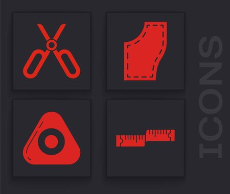 Set Tape measure, Scissors, Sewing Pattern and Sewing chalk icon. Vector