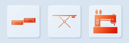 Set Ironing board, Tape measure and Sewing machine. White square button. Vector  イラスト・ベクター素材