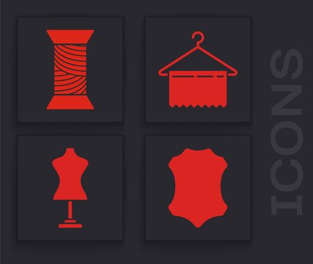 Set Leather, Sewing thread on spool, Hanger wardrobe and Mannequin icon. Vector
