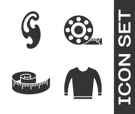 Set Sweater, French curves, Tape measure and Tape measure icon. Vector