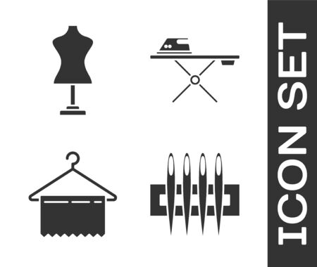 Set Needle for sewing, Mannequin, Hanger wardrobe and Electric iron and ironing board icon. Vector