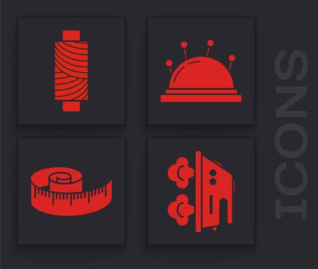Set Electric iron, Sewing thread on spool, Needle bed and needles and Tape measure icon. Vector