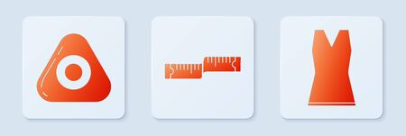 Set Tape measure, Sewing chalk and Woman dress. White square button. Vector  イラスト・ベクター素材