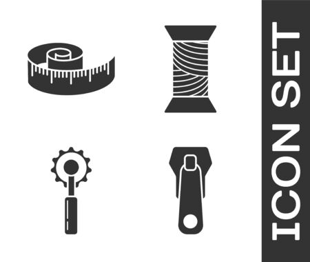 Set Zipper, Tape measure, Cutter tool and Sewing thread on spool icon. Vector