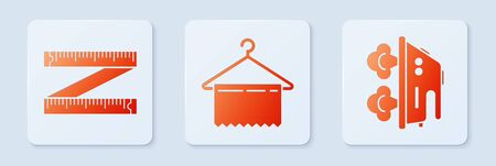 Set Hanger wardrobe, Tape measure and Electric iron. White square button. Vector  イラスト・ベクター素材