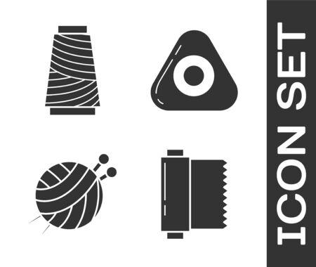 Stellen Sie Textilstoffrolle, Nähgarn auf Spule, Garnball mit Stricknadeln und Nähkreidesymbol ein. Vektor