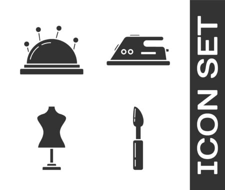 Set Cutter tool, Needle bed and needles, Mannequin and Electric iron icon. Vector Ilustração