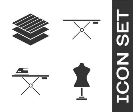 Set Mannequin, Textile fabric roll, Electric iron and ironing board and Ironing board icon. Vector Ilustração