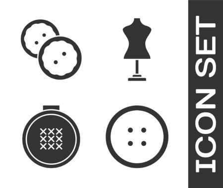 Set Sewing button for clothes, Sewing button for clothes, Round adjustable embroidery hoop and Mannequin icon. Vector
