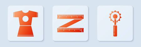 Set Tape measure, Woman dress and Cutter tool. White square button. Vector