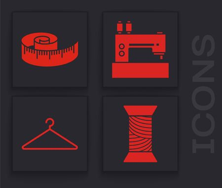 Set Sewing thread on spool, Tape measure, Sewing machine and Hanger wardrobe icon. Vector  イラスト・ベクター素材