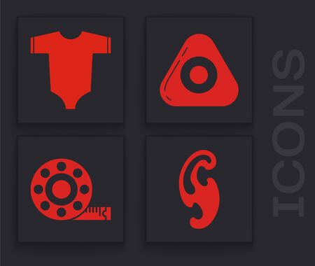 Set French curves, Baby clothes, Sewing chalk and Tape measure icon. Vector
