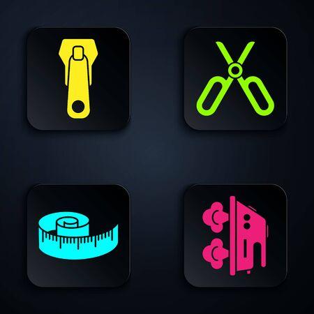 Set Electric iron, Zipper, Tape measure and Scissors. Black square button. Vector
