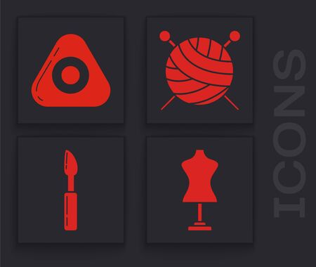 Set Mannequin, Sewing chalk, Yarn ball with knitting needles and Cutter tool icon. Vector