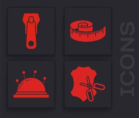 Set Scissors and leather, Zipper, Tape measure and Needle bed and needles icon. Vector