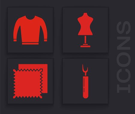 Set Cutter tool, Sweater, Mannequin and Textile fabric roll icon. Vector Ilustração