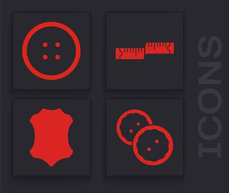 Set Sewing button for clothes, Sewing button for clothes, Tape measure and Leather icon. Vector  イラスト・ベクター素材