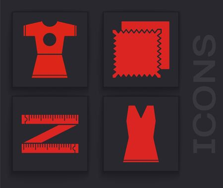 Set Woman dress, Woman dress, Textile fabric roll and Tape measure icon. Vector