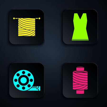 Set Sewing thread on spool, Knitting, Tape measure and Woman dress. Black square button. Vector  イラスト・ベクター素材
