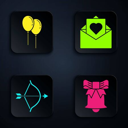 Set Ringing bell, Balloons with ribbon, Bow and arrow and Envelope with Valentine heart. Black square button. Vector