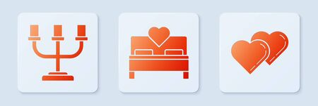 Set Bedroom, Candlestick and Two Linked Hearts. White square button. Vector