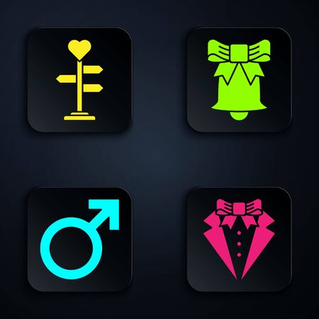 Set Suit, Signpost with heart, Male gender symbol and Ringing bell. Black square button. Vector  イラスト・ベクター素材