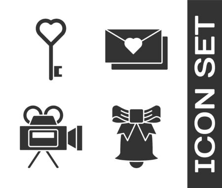 Set Ringing bell, Key in heart shape, Cinema camera and Envelope with Valentine heart icon. Vector  イラスト・ベクター素材