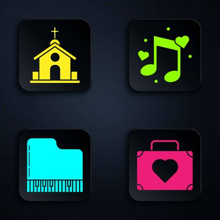 Set Suitcase for travel with heart, Church building, Grand piano and Music note, tone with hearts. Black square button. Vector Stock Illustratie