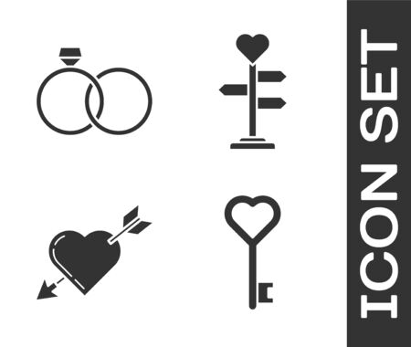 Set Key in heart shape, Wedding rings, Amour symbol with heart and arrow and Signpost with heart icon. Vector