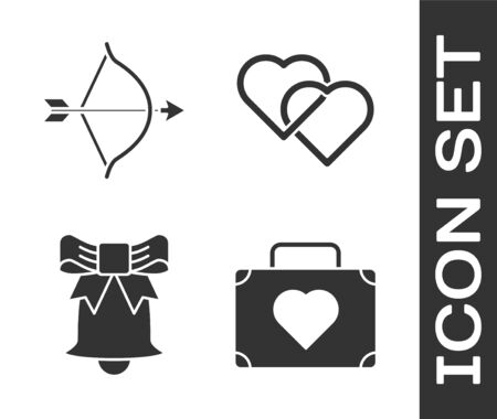 Set Suitcase for travel with heart, Bow and arrow, Ringing bell and Two Linked Hearts icon. Vector  イラスト・ベクター素材