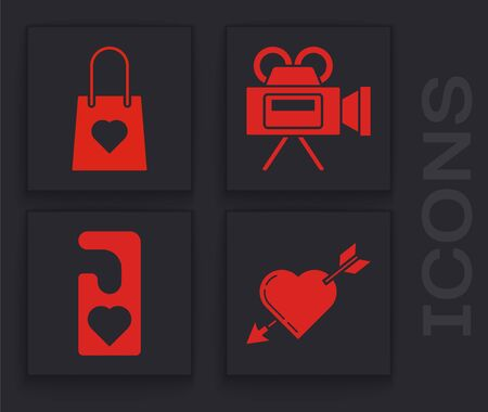 Set Amour symbol with heart and arrow, Shopping bag with heart, Cinema camera and Please do not disturb with heart icon. Vector Ilustrace