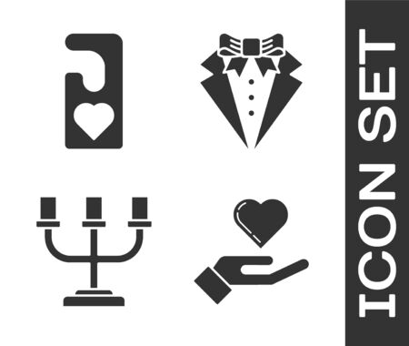Set Heart on hand, Please do not disturb with heart, Candlestick and Suit icon. Vector