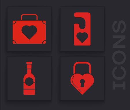 Set Castle in the shape of a heart, Suitcase for travel with heart, Please do not disturb with heart and Champagne bottle icon. Vector