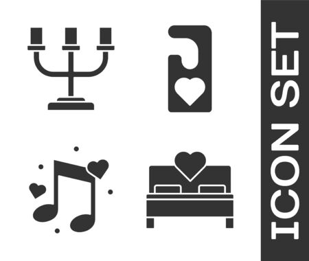 Set Bedroom, Candlestick, Music note, tone with hearts and Please do not disturb with heart icon. Vector Ilustrace