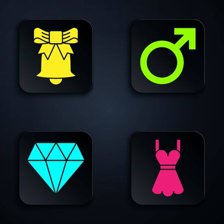 Set Woman dress, Ringing bell, Diamond and Male gender symbol. Black square button. Vector