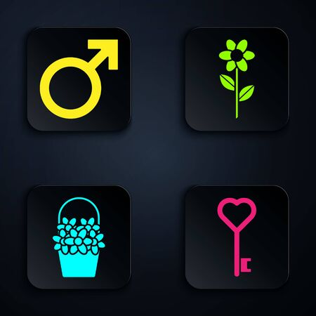 Set Key in heart shape, Male gender symbol, Flowers in a basket and Flower. Black square button. Vector Illustration