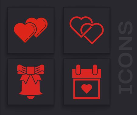 Set Calendar with heart, Two Linked Hearts, Two Linked Hearts and Ringing bell icon. Vector